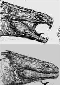 Concept art by Paul Catling, already close to the final incarnation.