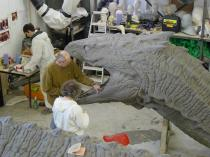 Sculpting the Basilisk: John Coppinger and Graham High at work.