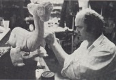 Phil Tippett sculpts the Eborsisk model.