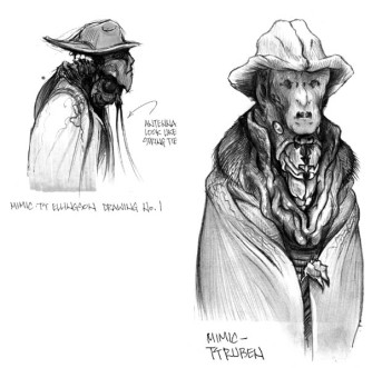 Early Mimic concept art by TyRuben Ellingson showing the 'brimmed hat' idea.