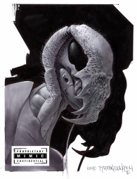 Concept art of a Mimic sideview with the mask-claws in use, by TyRuben Ellingson. The final design would apply minor modifications, such as the appearance of the mask.