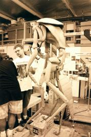 The sculpting crew works on the Mimic sculpture.