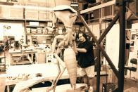 Rick Lazzarini works on the full Mimic sculpture.