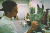 Rob Ramsdell sculpts the left hand of the Creature.