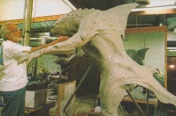 Stan Winston inspects the full-size sculpture, adding minor touch-ups.