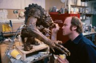 Tippett adds minor touch-ups to the rod puppet.