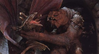 The ILM crew made this photo as a joke, by posing the Rancor along with the 'flying' Vermithrax rod puppet from 'Dragonslayer'. The photo was taken as official for many years, and is probably the influence on the expanded universe Krayt Dragons.