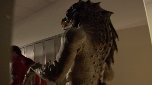 Reptilius on set.