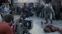 Filming the battle in the subway.