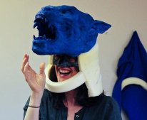 The blue Tunnel Lycan head mock-up, used for reference on set.