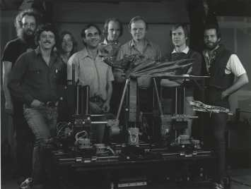 A shot of the 'walking' Dragon crew. From left to right: Gary Leo, Ray Gilberti, Bess Wiley, Stuart Ziff, Phil Tippett, Dennis Muren, Dave Carson and Mike McAlister.