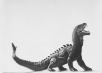 The Rhedosaurus model in test photos.