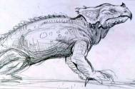 Early concept art for the Rhedosaurus, with a ceratopsian appearance.