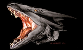 This concept art piece was obtained by scanning a sculpture by Miles Teves, with digitally added teeth. and eyes.