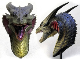 Maquette of the Bull Dragon's head, sculpted by Miles Teves and Steve Wang, and painted by Jordu Schell.