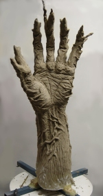 Hand sculpture underway.