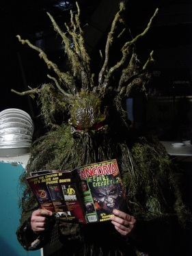 Man-Thing reads Fangoria between takes.