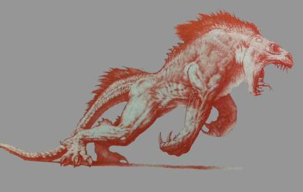Early concept art of the Kothoga by Mark 'Crash' McCreery.