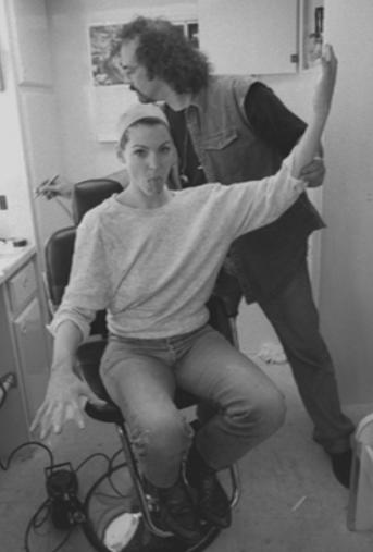 Rya Kihlsteidt goofs around during the make-up process.