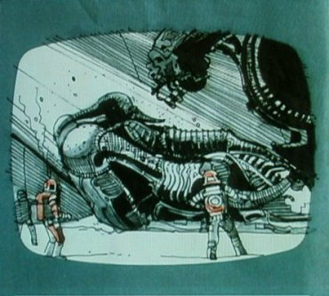 Ridleygram of the Space Jockey in its cockpit.