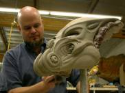 Sculpting Celtic's mask.
