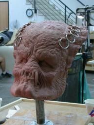 Elder head sculpture. The rings were removed in the final creature.