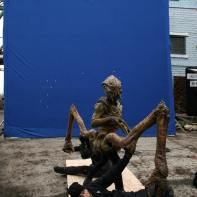 Skitter filmed in front of a blue screen.