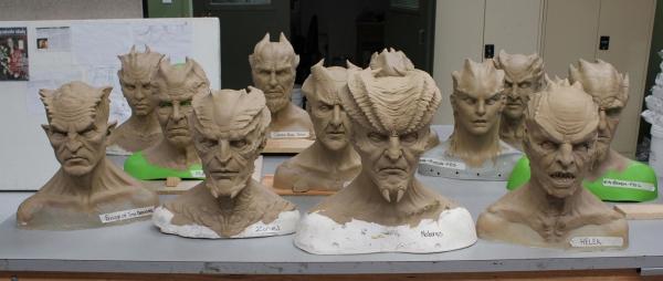 Demon sculptures.