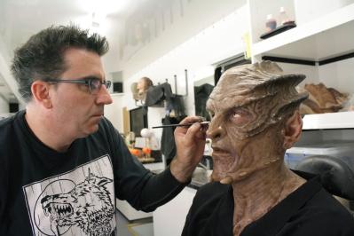 Applying make-ups.