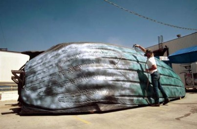 Bob Clark paints the Tanker Bug shell.