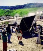 Filming the scene.