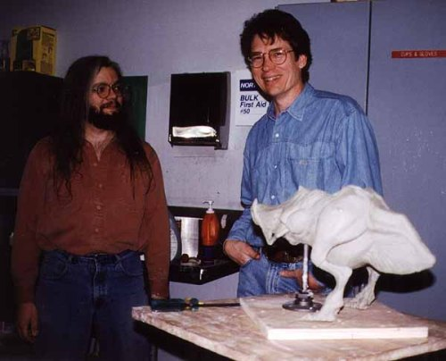 The Shrieker maquette, with Andy Schoneberg (left) and S.S. Wilson (right).