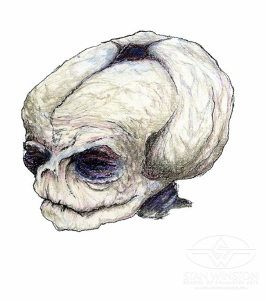 Pumpkinhead fetus concept art by Tom Woodruff, Jr.