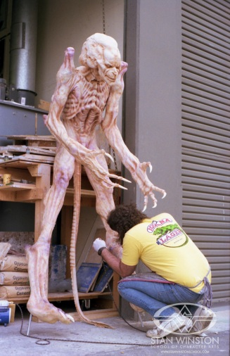 The finishing touches are applied to the 'human' Pumpkinhead.