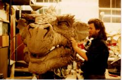 Sculpting the full-size head.