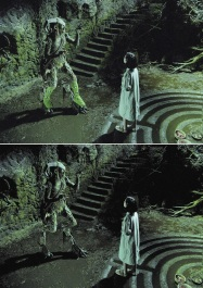 A before-after image showing how Jones' unsuited leg portions were erased in post-production.