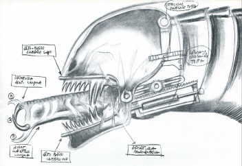 Rambaldi's concepts for the mechanical head.