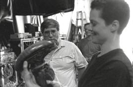 Weaver on set with the puppet.