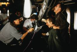 Filming the 'Headburster' scene.