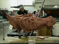 Sculpting the full-size Queen.
