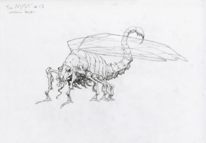 Concept art of the bug creature by Bernie Wrightson.