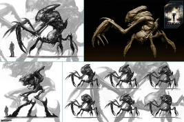 Concept art of the mantis-lobster creature by Lei Jin. Final creature model on the top right.
