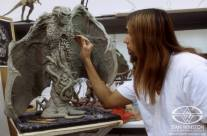 Sculpting the maquette.
