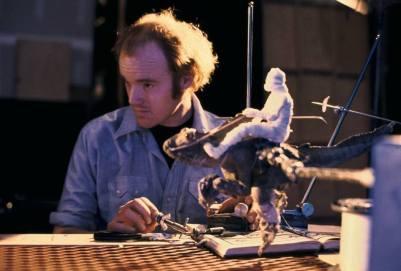 Phil Tippett with a prototype Tauntaun - the Piranha mutant from 'Piranha' (1978).