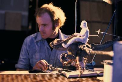 Phil Tippett with a prototype Tauntaun - the Piranha mutant from 'Piranha' (1978).